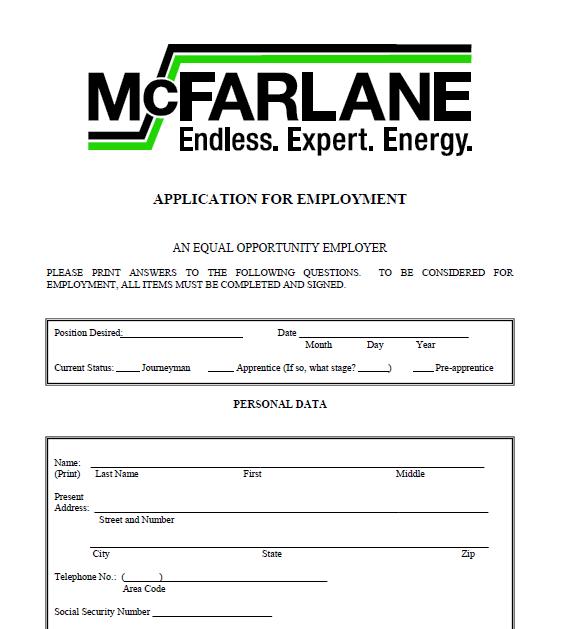 McFarlane | Employment Application